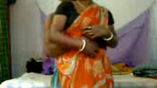 Chubby Indian wife in orange saree is ready to have sex