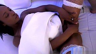 Ebony bride fucks her groom
