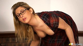 Sassy blonde hoe in glasses Sophie Star shows off her great boobs