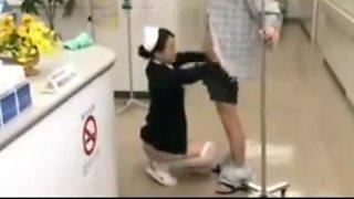 Nurse gives a first class reception !