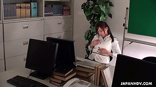Slutty Japanese secretary Aihara Miho is masturbating in the office