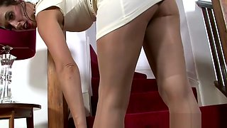 Slut In Pantyhose Rubs Her Wet Vagina