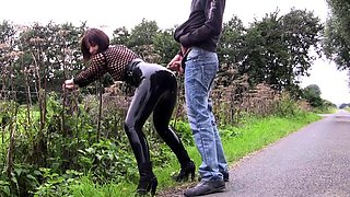 Mom Pissed and Wanked on Outdoors See pt2 at goddessheels