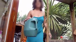 Flashing neighbours upskirt gardening